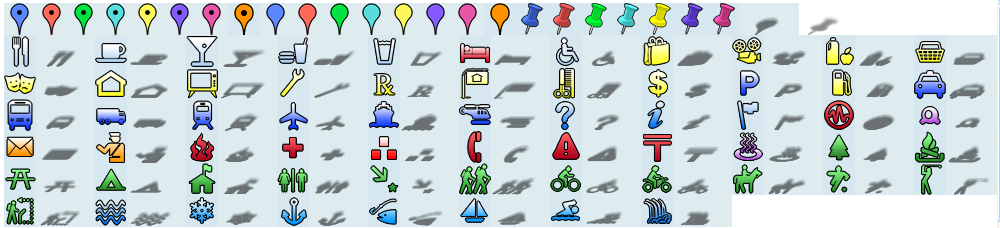 Icons for Google Map Earth